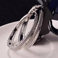 Серьги кольца тройные, серебро