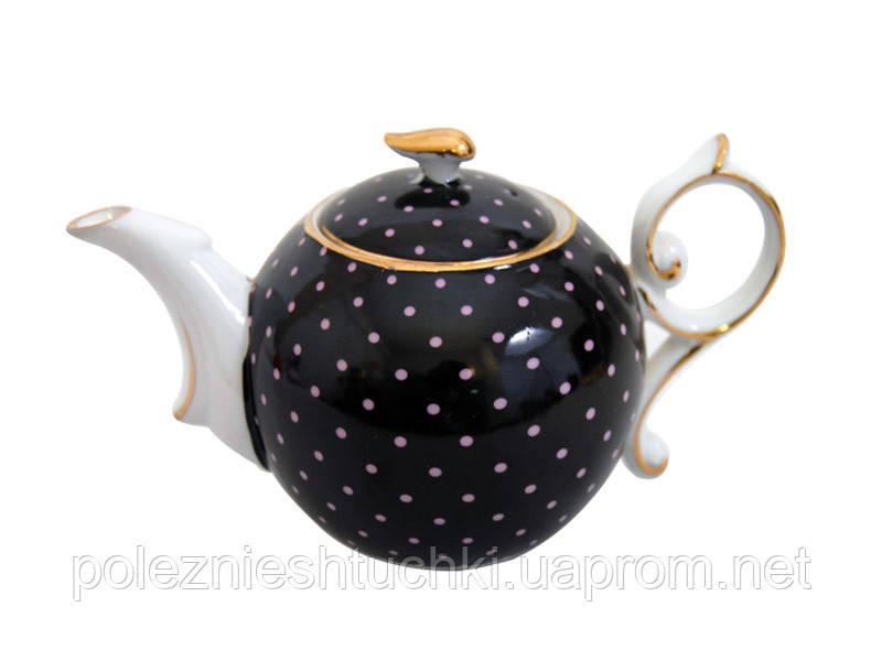 """Чайник заварочный 300 мл. """"Черный горошек"""" фарфоровый"""
