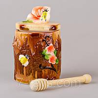 """Банка для меда с деревянной палочкой 12х12х14 см., 500 мл. """"Пчелы"""" керамическая, коричневая"""