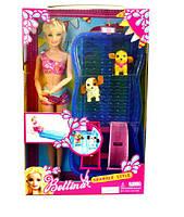 """Кукла типа """"Барби"""" бассейн с горками,  2 питомца, в кор. 26*6*32см /60-4/(68012)"""