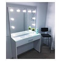 Стол для визажиста с выдвижным ящиком, стеклянной столешницей и зеркалом