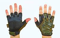 Перчатки тактические Mechanix Olive с защитой костяшек (беспалые)