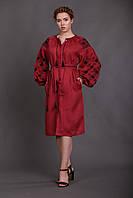"""Бордовое платье с черной вышивкой """"Окошки"""", фото 1"""
