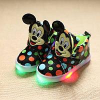 Детские кроссовки для девочек светящиеся Минни черный 25р.