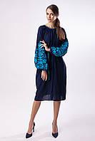 """Тёмно-синее платье с бирюзовой вышивкой """"Дерево Жизни"""""""
