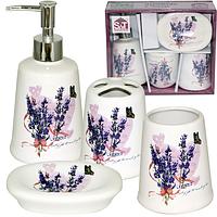 Набор 4предмета (мыльница, подставка для зубных щеток, стакан, диспенсер для мыла) 'Лаванда'