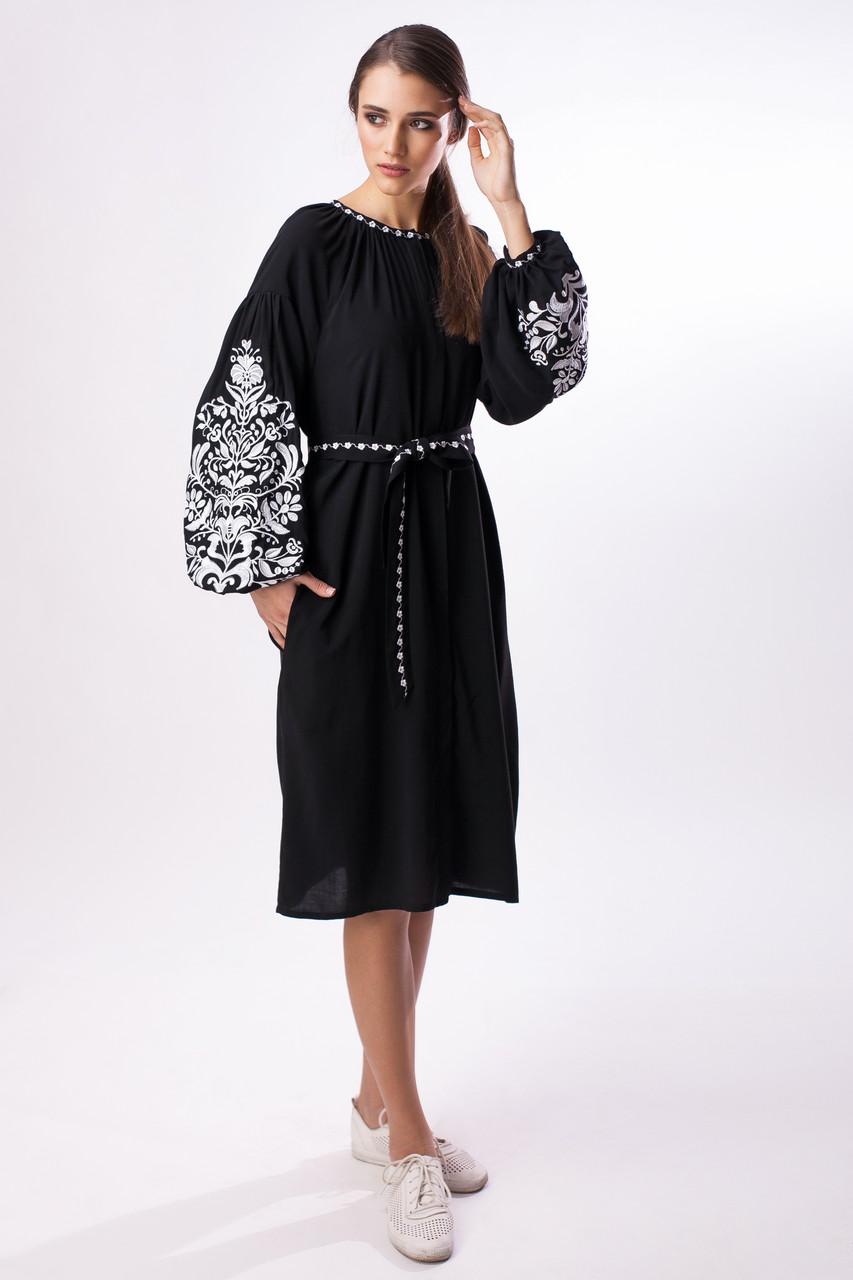 f4bcd4f1e1f1d3 Черное платье с белой вышивкой