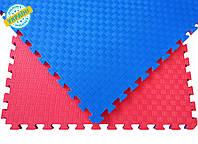 Мат татами 100*100*3 см Eva-Line Extra Quality синий/красный Плетёнка 100 кг/м3 (будо-мат, даянг)