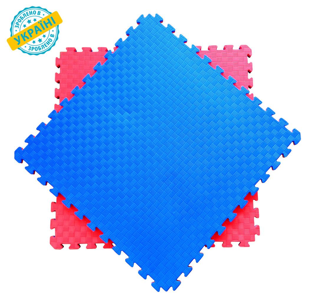 Мат татами 100*100*2 см Eva-Line Extra Quality синий/красный Плетёнка 100 кг/м3 (будо-мат, даянг)