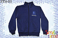 Кофта теплая с начесом на молнии р.104,110,116 SmileTime Snowbord, темно-синяя