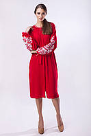 """Красное платье с белой вышивкой """"Дерево Жизни"""", фото 1"""