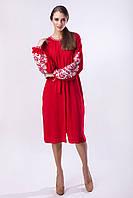 """Красное платье с белой вышивкой """"Дерево Жизни"""""""