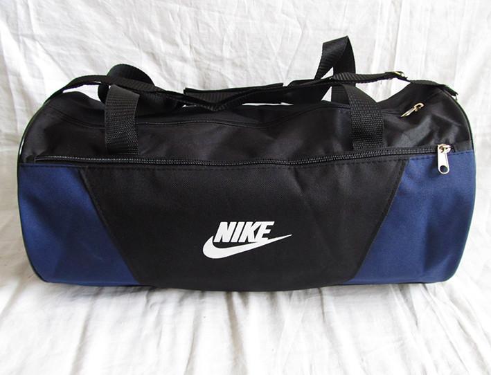 122aebd367a7 Дорожная сумка через плечо спортивная Найк цилиндр черная с синим 45см 28л,  ...