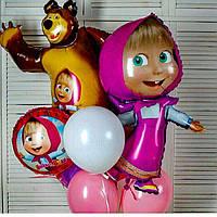 Композиция из гелиевых шаров Маша и Медведь. Гелиевые шары Троещина. Гелиевые шары Воскресенка.
