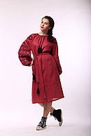 """Бордове плаття з чорно-рожевою вишивкою """"Ясні Зорі"""", фото 1"""