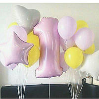 Композиция из гелиевых шаров 1 годик, девочка Гелиевые шары Троещина. Гелиевые шары Воскресенка.