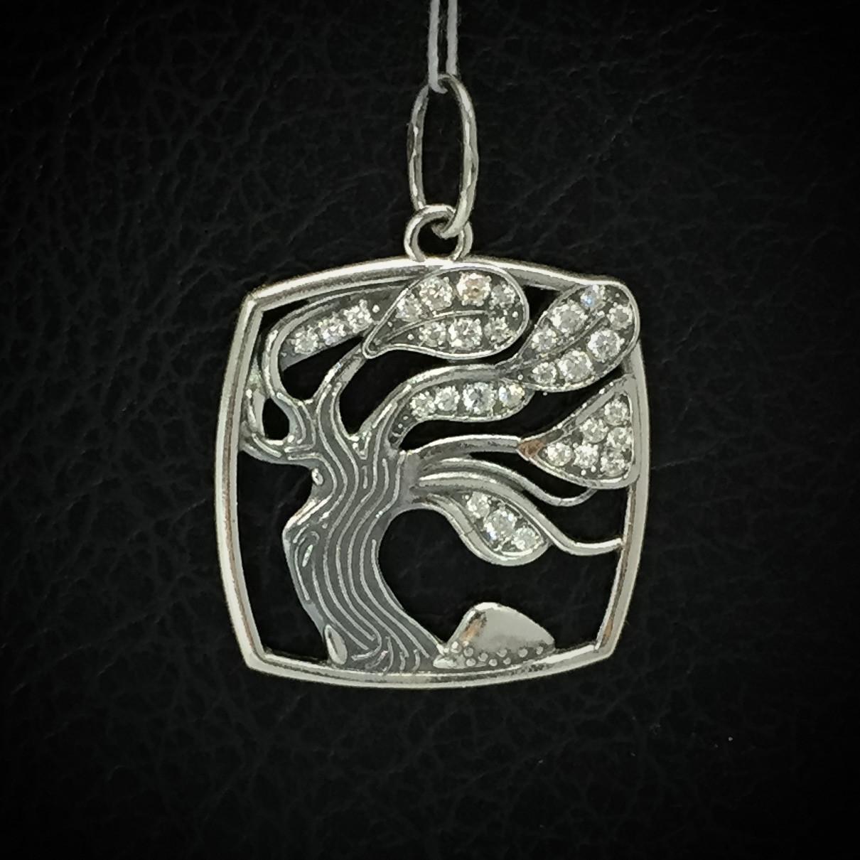 Срібна підвіска з камінням Дерево