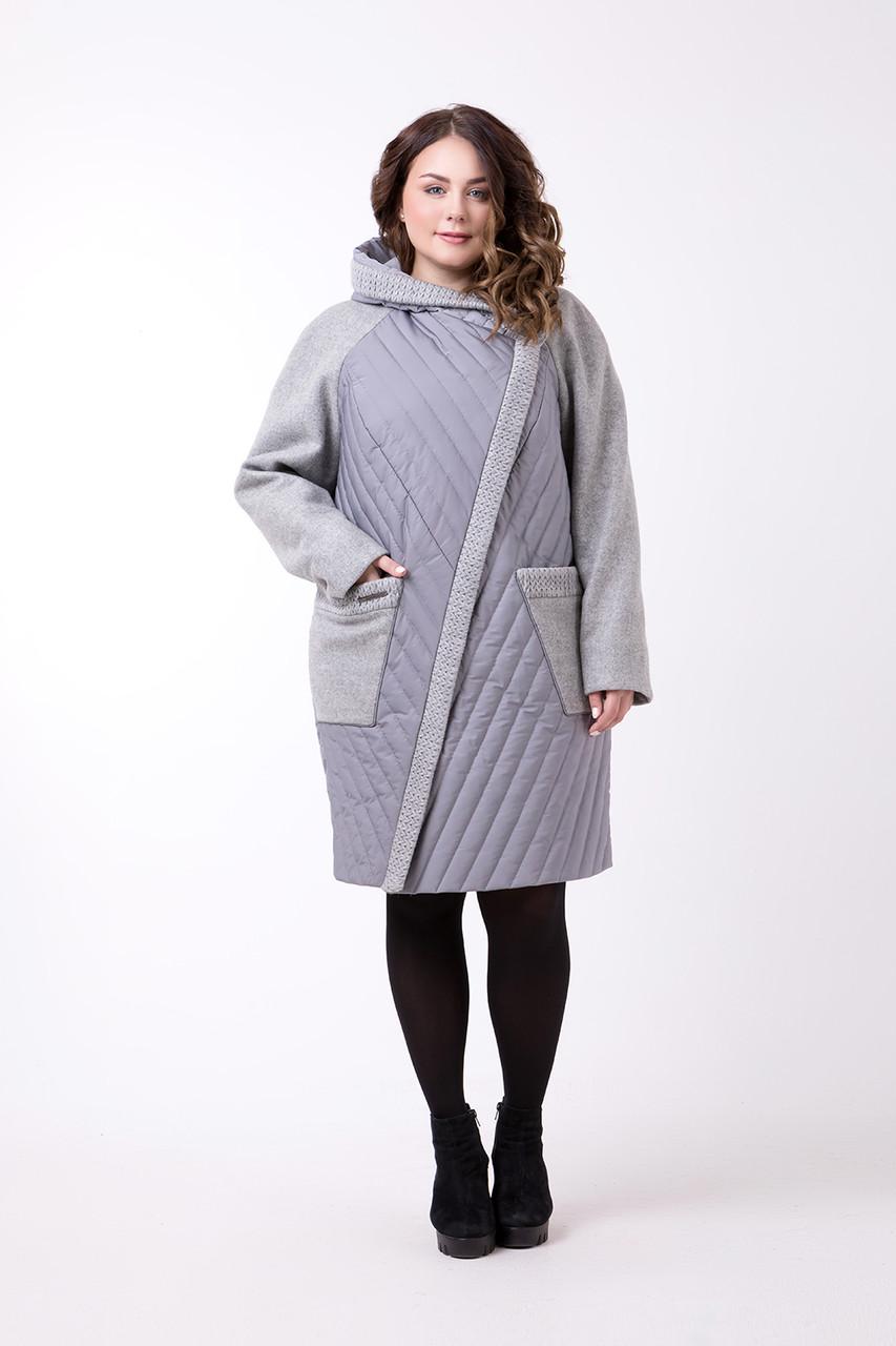 Стеганое комбинированное пальто прямого силуэта р.48-64