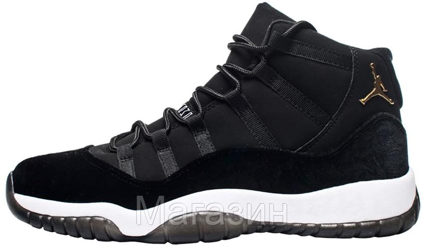 Женские Высокие Кроссовки Nike Air Jordan 11 Heiress Black Velvet Найк Аир  Джордан 11 Черные — в Категории