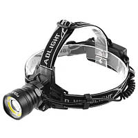 Фонарь на лоб Police BL-8004-T6+COB, signal light, 2х18650, ЗУ 12V/220V, zoom