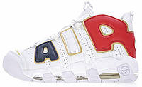 Мужские кроссовки Nike Air More Uptempo QS White/Navy Blue/Red/Gold (Найк Аптемпо) белые