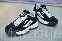 Женские кроссовки Fila Disruptor II Black Фила Дисраптор 2 черные, фото 3