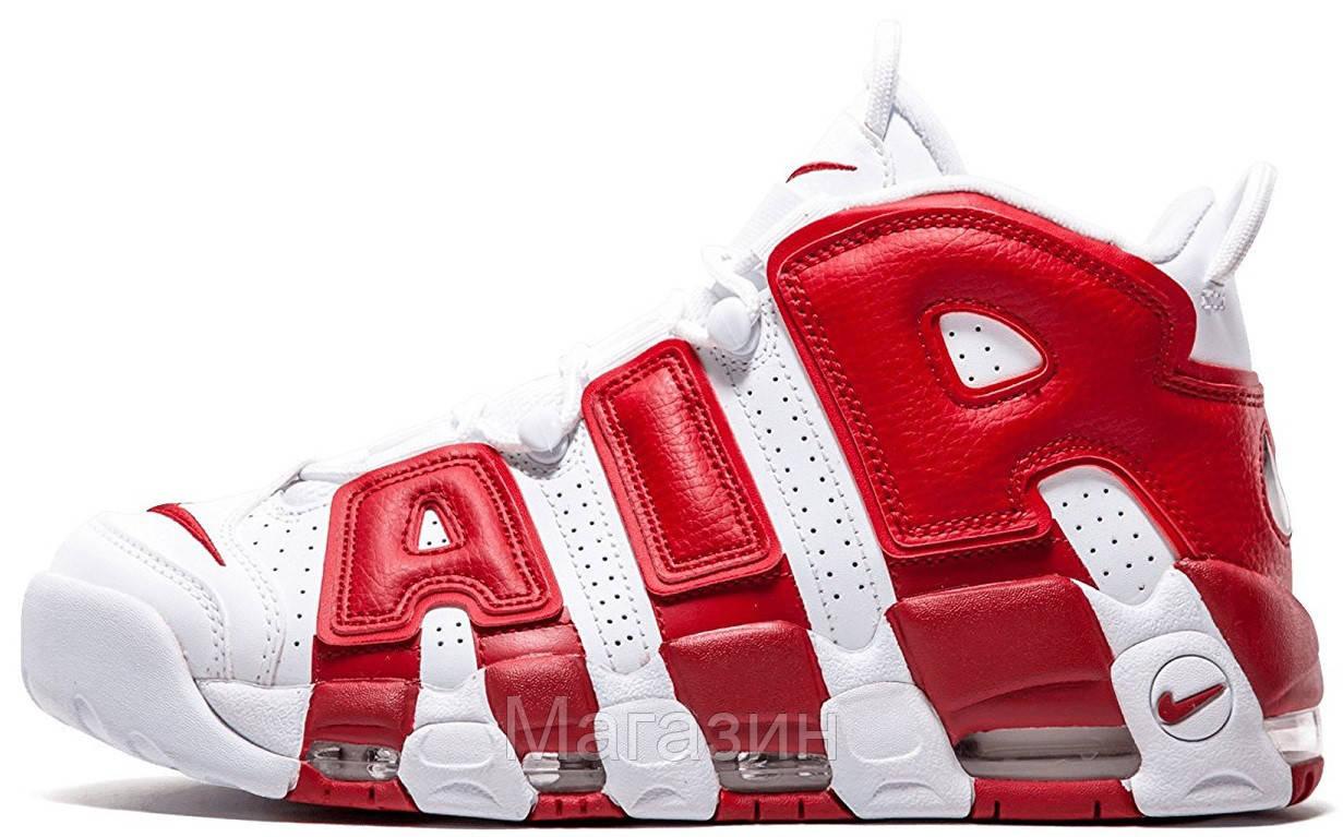 Мужские кроссовки Nike Air More Uptempo White/Gym Red (Найк Аир Аптемпо) белые