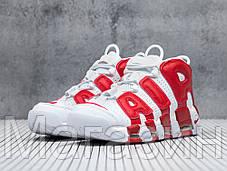 Мужские кроссовки Nike Air More Uptempo White/Gym Red (Найк Аир Аптемпо) белые, фото 2