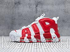 Мужские кроссовки Nike Air More Uptempo White/Gym Red (Найк Аир Аптемпо) белые, фото 3