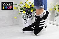 Кроссовки женские adidas Gazelle, цвет - черный с белым, материал - замша