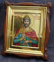 Киот для иконы Святого Игоря Черниговского, фигурный, открывающийся, с золочёной внутренней рамкой., фото 2