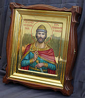 Киот для иконы Святого Игоря Черниговского, фигурный, открывающийся, с золочёной внутренней рамкой., фото 3