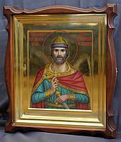 Киот для иконы Святого Игоря Черниговского, фигурный, открывающийся, с золочёной внутренней рамкой., фото 1