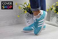 Кроссовки женские adidas Gazelle, цвет - мятный, материал - замша
