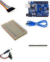 Набор Arduino UNO, макетная плата на 400 точек, гибкие перемычки 65 шт, разъем для подключения 9в батареи, USB