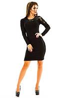 Черное женское платье с гипюром