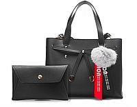 Женская сумка черная молодежная набор с помпоном Eva Черный, фото 1