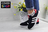 Кроссовки adidas Gazelle, синие с красным, материал-замша, подошва - вулканизированная резина