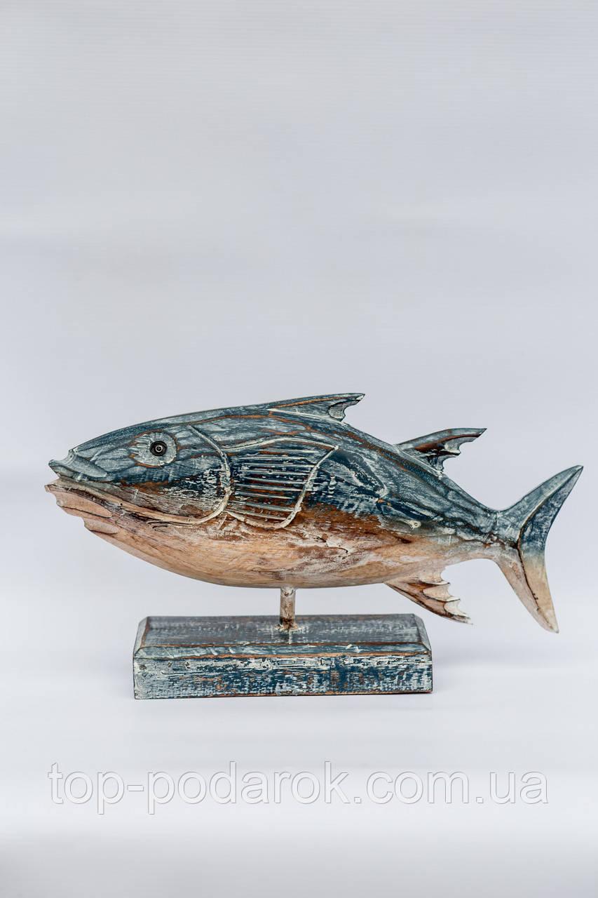 Рыба деревянная на подставке размер 40*20 см