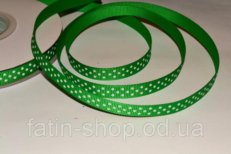 Репсовая лента горошек цв.Emerald