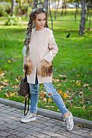 Тёплое детское длинное кашемировое пальто с меховыми карманами на девочку бежевое 134 140 146 152, фото 1