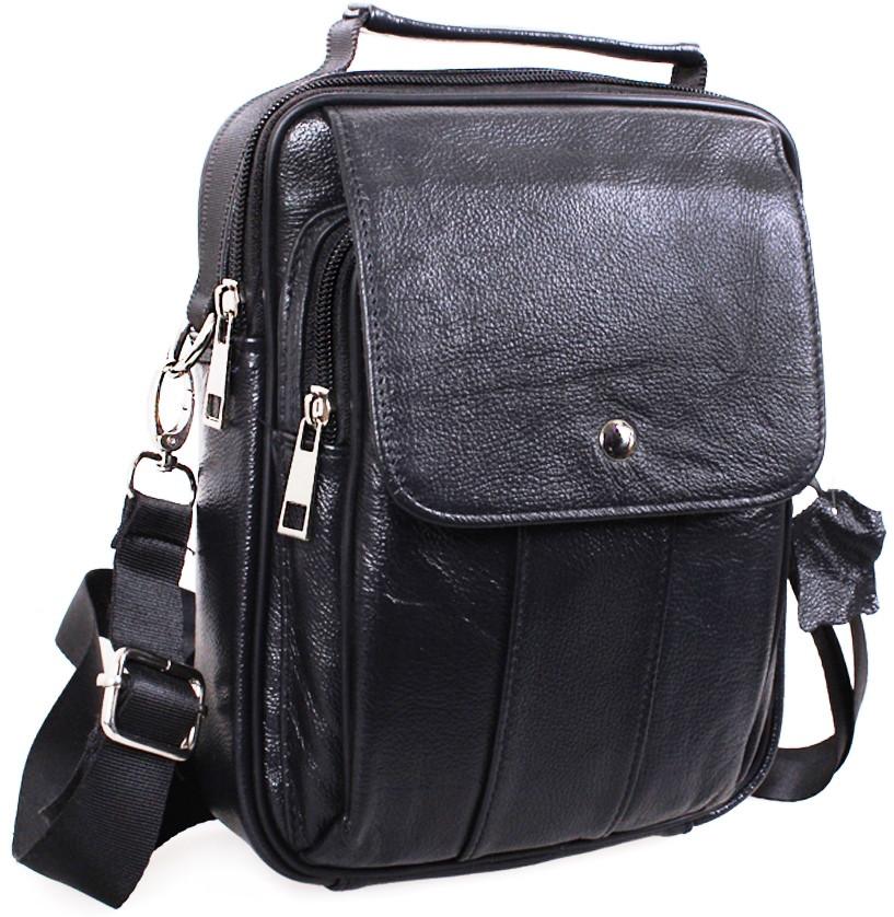 Кожаная мужская сумка BLACK40204, черная