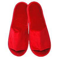 Тапочки для дома и офиса велюровые открытые с антискользящей подошвой (цвет красный)
