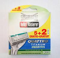Сменные кассеты Wilkinson Sword Quattro Titanium Sensitive 5+2 шт