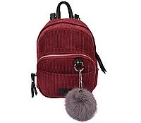 Маленький женский мини-рюкзак бордовый (велюровый) с пушистым брелком