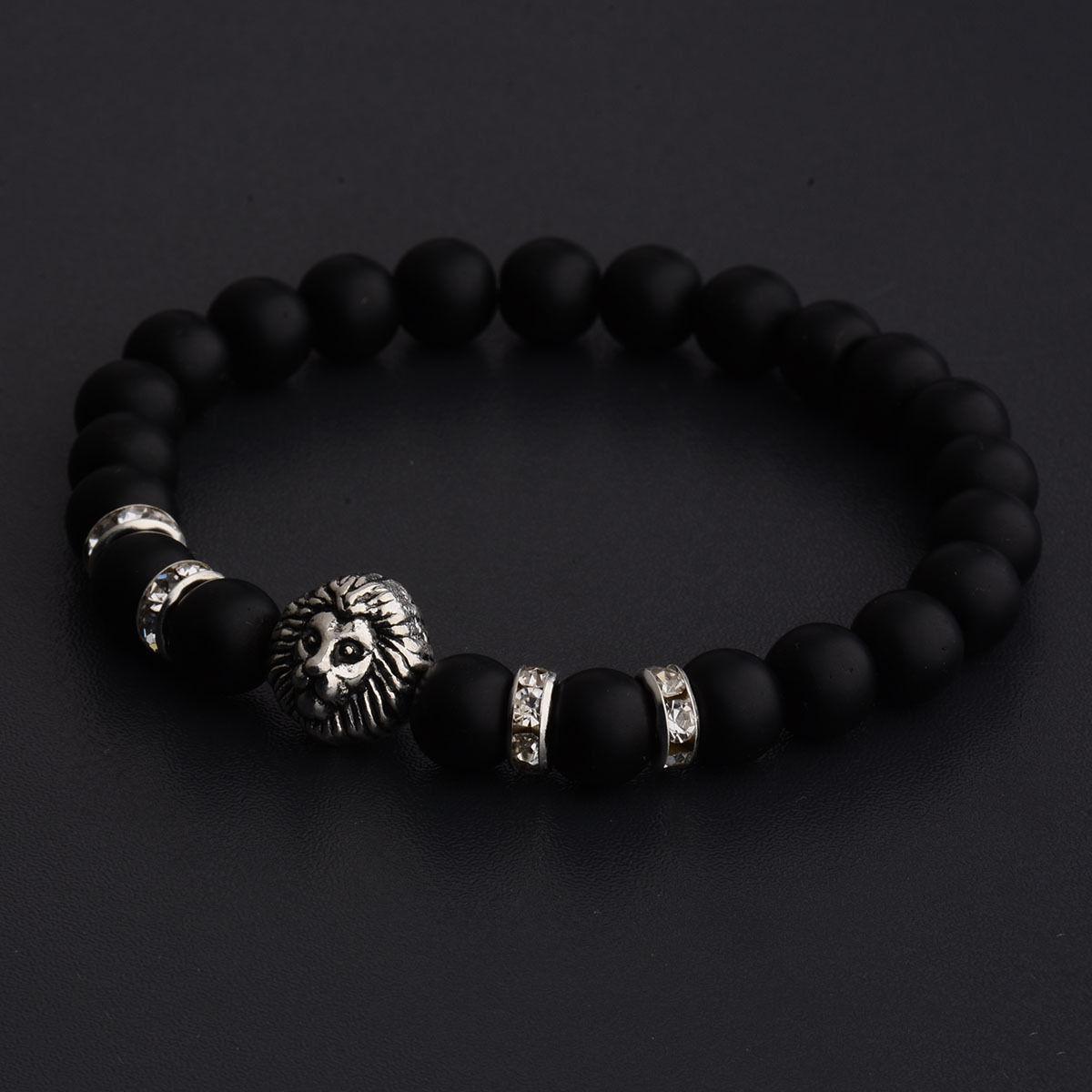 Чоловічий кам'яний браслет mod.BlackLion silver II matt