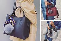 Женская сумка с помпоном и косынкой