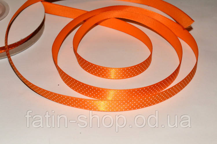 Атласная лента горох - Америка цв.Orange