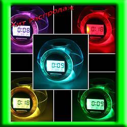 Футуристические Часы Будильник 6 Nature Sound Clock 7 цветов свечения