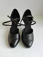 Танцевальные черные туфли Love dance с закрытым носком на невысоком каблуке размер 37, 38.